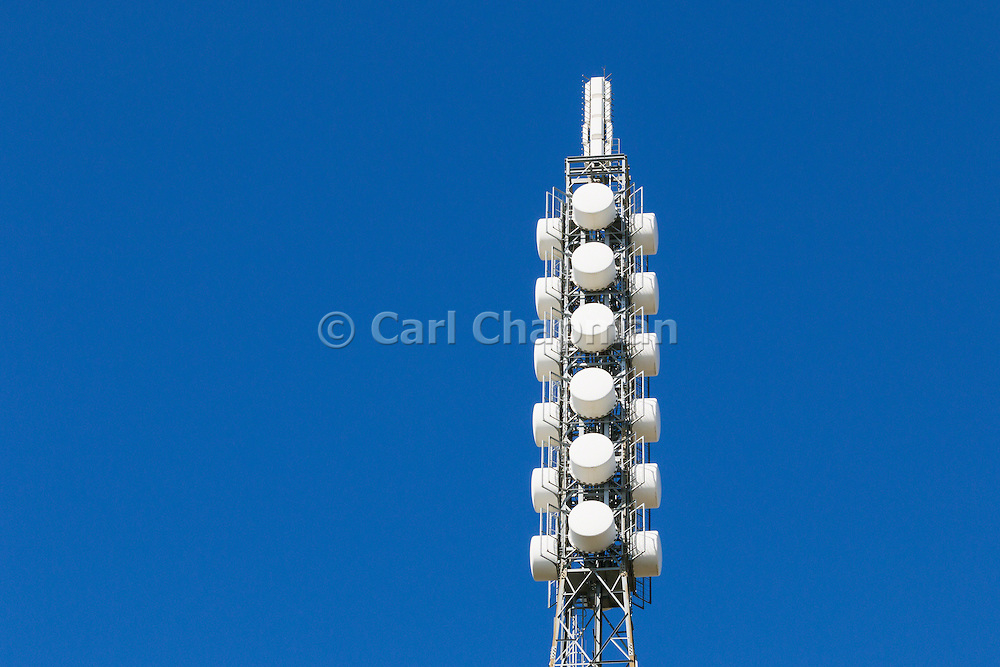 Television broadcast antenna on a lattice tower used for tv transmission at Mount Canobolas, Orange, New South Wales, Australia <br />
