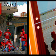 DAILY VENEZUELA II / VENEZUELA COTIDIANA II<br /> Photography by Aaron Sosa <br /> <br /> Left: March supporters of Hugo Chavez - Venezuela 2008 / Marcha de simpatizantes de Hogo Chavez, Caracas - Venezuela 2008<br /> <br /> Right: Simon Bolivar International Airport Maiquetia - Venezuela 2008 / Aereopuerto Internacional Simon Bolivar de Maiquetia, Estado Vargas - Venezuela 2008<br /> <br /> (Copyright © Aaron Sosa)
