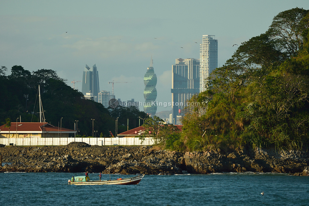 View of the skyline of Panama city, Panama rising above the shoreline.