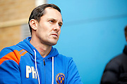 Shrewsbury Town FC manager Paul Hurst watches as his players warm up during the EFL Sky Bet League 1 match between Gillingham and Shrewsbury Town at the MEMS Priestfield Stadium, Gillingham, England on 28 January 2017. Photo by Andy Walter.