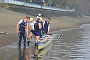 London, UK,  2014 Varsity, Annual Tideway Week. OUBC, Oxford University Boat Club, Blue Boat, crew prepares to take boat off the water. 04:47:09  Wednesday  02/04/2014  : [Mandatory Credit Intersport Images]<br /> OUBC. Bow. Storm URU, 2. Tom WATSON, 3. Karl HUDSPITH, 4. Thomas SWARTZ, 5. Malcolm HOWARD, 6. Mike DI SANTO, 7. Sam O'CONNOR, Stroke. Constantine LOULOUDIS and Cox Laurence HARVEY.