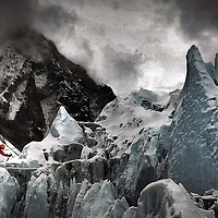 Climbers from Walking with the wounded climb Everest.Photograph David Cheskin.