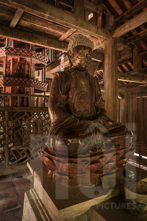 Old Buddha wooden statue in But Thap Pagoda, Hanoi, Vietnam, Southeast Asia