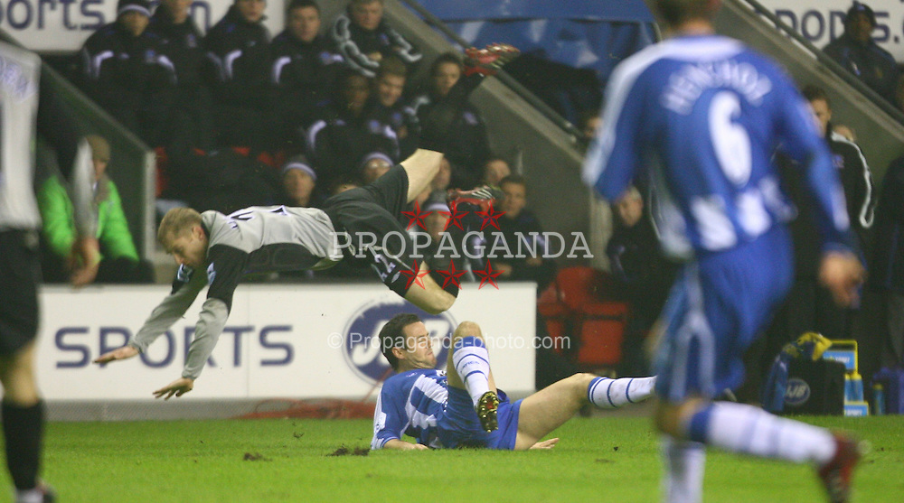 WIGAN, ENGLAND - TUESDAY, JANUARY 31st, 2006: Everton's xxxx and Wigan Athletic's xxxx during the Premiership match at the JJB Stadium. (Pic by David Rawcliffe/Propaganda)