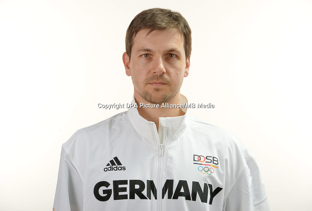 Timo Boll poses at a photocall during the preparations for the Olympic Games in Rio at the Emmich Cambrai Barracks in Hanover, Germany. July 04, 2016. Photo credit: Frank May/ picture alliance. | usage worldwide