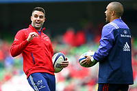 Rugby Union - 2016 / 2017 European Rugby Champions Cup - Semi-Final: Munster vs. Saracens<br /> <br /> Munster's Conor Murray shares a joke with Simon Zebo before the game at the Aviva Stadium, Dublin.<br /> <br /> COLORSPORT/KEN SUTTON