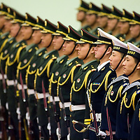 The Chinese honor guard during a welcome ceremony at the Great Hall of the People in Beijing, China, on Friday  January. 18, 2008. Photographer: Bernardo De Niz