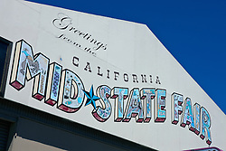Sign with welcome to California Mid State Fair, Paso Robles, California, United States of America