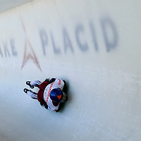 28 February 2007:  Tomass Dukurs of Latvia in turn 18 the 3rd run at the Men's Skeleton World Championships competition on February 28 at the Olympic Sports Complex in Lake Placid, NY.
