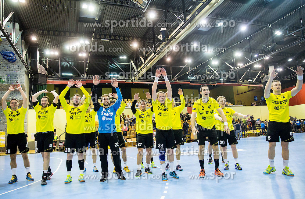 Players of Gorenje celebrate after winning during handball match between RK Gorenje Velenje (SLO) and Pfadi Winterthur (SUI) in Group Phase of EHF European Cup 2014/15, on March 8, 2015 in Rdeca dvorana, Velenje, Slovenia. Photo by Vid Ponikvar / Sportida