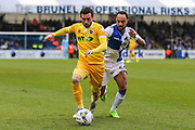 Millwall's David Worrall(7) under pressure from Bristol Rovers Byron Moore(22) during the EFL Sky Bet League 1 match between Bristol Rovers and Millwall at the Memorial Stadium, Bristol, England on 30 April 2017. Photo by Shane Healey.