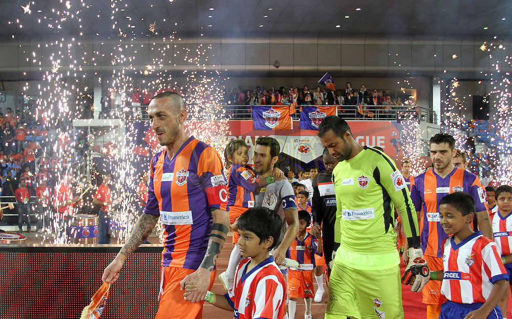 FC Pune City and Atletico de Kolkata players arrive for the match 44 of the Hero Indian Super League between FC Pune City and Atletico de Kolkata FC held at the Shree Shiv Chhatrapati Sports Complex Stadium, Pune, India on the 29th November 2014.<br /> <br /> Photo by:  Vipin Pawar/ ISL/ SPORTZPICS