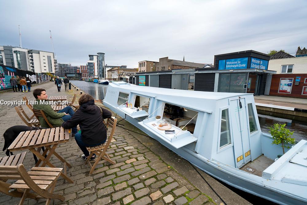 Small cafe inside narrowboat on Union Canal at Fountainbridge in Edinburgh , Scotland, United Kingdom.