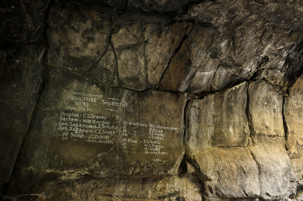Historic Native American writing on wall of Pluto's Cave, Mount Shasta California
