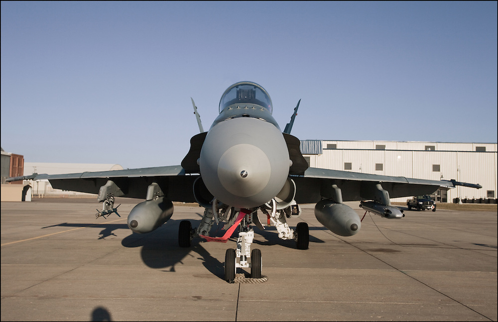 Looking head on with a Canadian CF-18 while it sits at the airport in Salina, Kansas.
