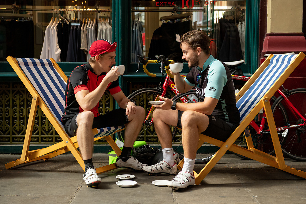 Early morning visitors to the Leadenhall Market Festival Zone. Prudential RideLondon FreeCycle. Saturday 28th July 2018<br /> <br /> Photo: Thomas Lovelock for Prudential RideLondon<br /> <br /> Prudential RideLondon is the world's greatest festival of cycling, involving 100,000+ cyclists - from Olympic champions to a free family fun ride - riding in events over closed roads in London and Surrey over the weekend of 28th and 29th July 2018<br /> <br /> See www.PrudentialRideLondon.co.uk for more.<br /> <br /> For further information: media@londonmarathonevents.co.uk