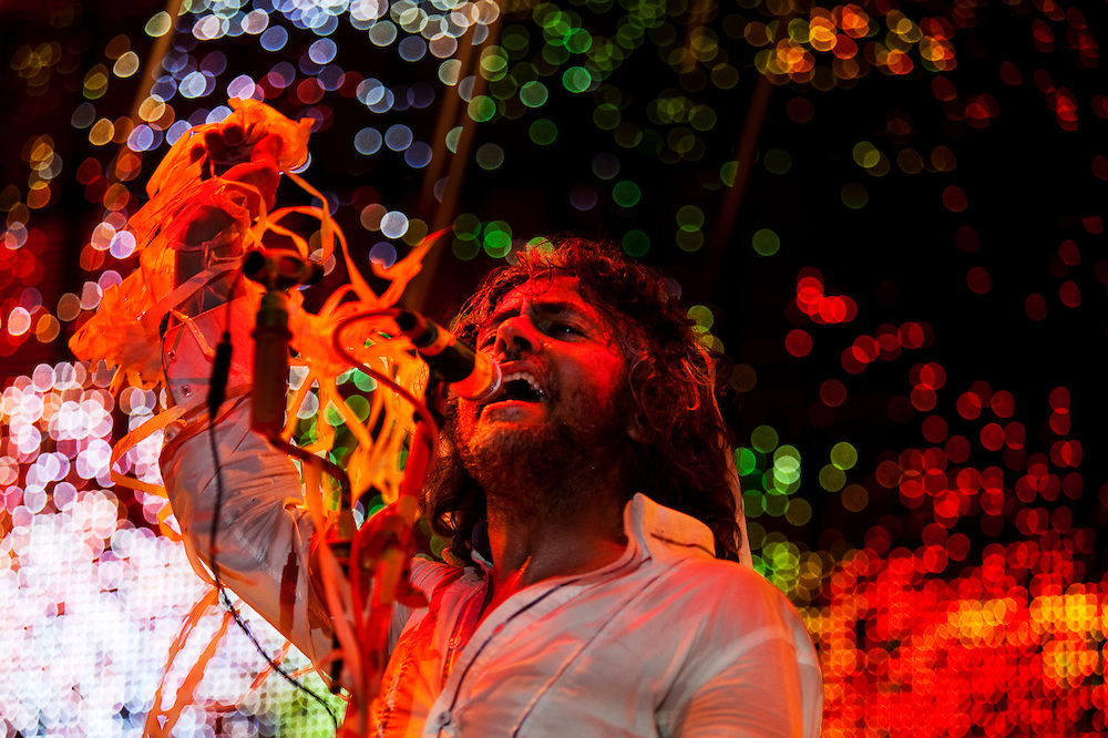 Wayne Coyne, the lead singer of The Flaming Lips, performs at The Nateva Music and Camping Festival in Oxford, Maine over the 4th of July Weekend 2010.