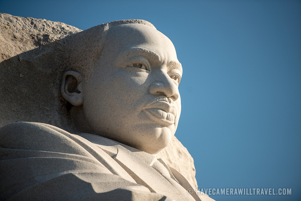 Front-side view of the statue of Dr King by artist Lei Yixin at the Martin Luther King Jr Memorial on the banks of the Tidal Basin in Washington DC.