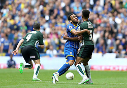 Andy Barcham of AFC Wimbledon tangles with Curtis Nelson of Plymouth Argyle - Mandatory by-line: Robbie Stephenson/JMP - 30/05/2016 - FOOTBALL - Wembley Stadium - London, England - AFC Wimbledon v Plymouth Argyle - Sky Bet League Two Play-off Final