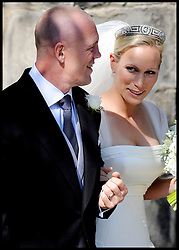 FILE PHOTO - Zara Phillips and Mike Tindall are expecting a baby in the New Year, Buckingham Palace announced today.<br /> Queen Elizabeth II's granddaughter Zara married England rugby star Tindall in July 2011 at Edinburgh's Canongate Kirk and a reception at the Queen's Scottish residence, the Palace of Holyrood<br /> <br /> Wedding of Zara Phillips and Mike Tindall at Canongate Kirk Church, Edinburgh, Saturday July 30th 2011. Photo by : Andrew Parsons / i-Images