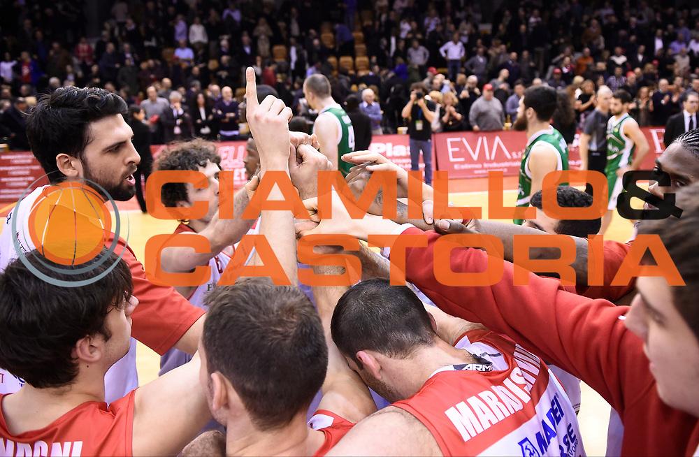 Esultanza Reggio<br /> Grissin Bon Reggio Emilia - Sidigas Avellino<br /> Lega Basket Serie A 2017/2018<br /> Reggio Emilia, 20/01/2018<br /> Foto A.Giberti / Ciamillo - Castoria