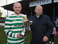 Fintry Rovers' captain Damien Coogan recieves the cup from Balgay Bar's Paul Murphy - Fintry Rovers (green and white) v FC Kettledrum (red and black) , DSMFA Balgay Bar 1st Division League Cup final at Glenesk Park, Dundee, Photo: David Young<br /> <br />  - &copy; David Young - www.davidyoungphoto.co.uk - email: davidyoungphoto@gmail.com