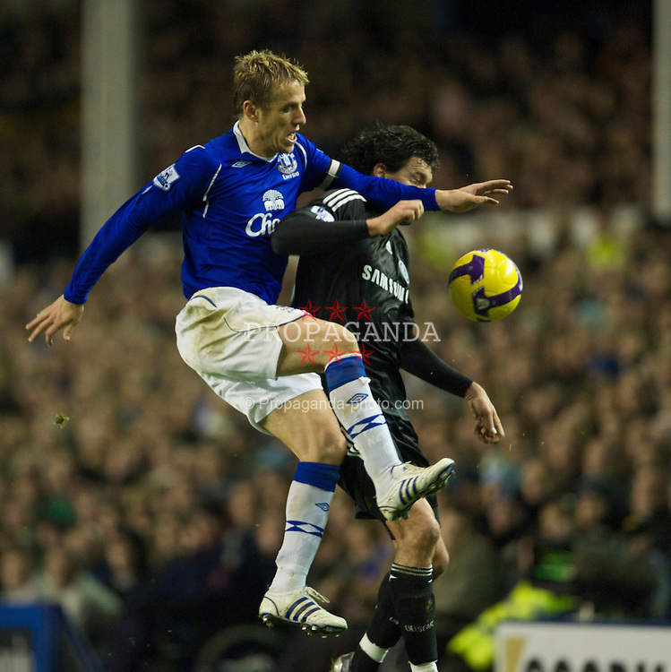 LIVERPOOL, ENGLAND - Monday, December 22, 2008: Everton's Phil Neville and Chelsea's Michael Ballack during the Premiership match at Goodison Park. (Photo by David Rawcliffe/Propaganda)