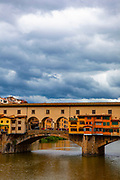 The famous Ponte Vecchio bridge in Florence, Tuscany, Italy.
