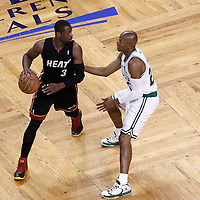 03 June 2012: Boston Celtics shooting guard Ray Allen (20) defends on Miami Heat shooting guard Dwyane Wade (3) during the first quarter of Game 4 of the Eastern Conference Finals playoff series, Heat at Celtics, at the TD Banknorth Garden, Boston, Massachusetts, USA.