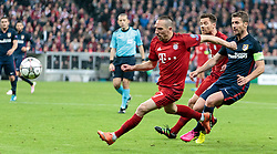 03.05.2016, Allianz Arena, Muenchen, GER, UEFA CL, FC Bayern Muenchen vs Atletico Madrid, Halbfinale, Rueckspiel, im Bild Franck Ribery (FC Bayern Muenchen), Xabi Alonso (FC Bayern Muenchen), Gabi (Atletico Madrid) // Franck Ribery (FC Bayern Muenchen) Xabi Alonso (FC Bayern Muenchen) Gabi (Atletico Madrid) during the UEFA Champions League semi Final, 2nd Leg match between FC Bayern Munich and Atletico Madrid at the Allianz Arena in Muenchen, Germany on 2016/05/03. EXPA Pictures © 2016, PhotoCredit: EXPA/ JFK
