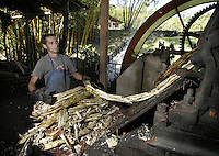 """Cristian Ugalde works at the watermill powered-sugarcane process plant """"Los Trapiches""""  on Saturday, January 6th, 2007. in Tacares,  about 25 miles West from San Jose, Costa Rica. Los Trapiches was founded 101 years ago and still produces handcrafted toffee, melaza, and other sugarcane by-products, daily consumed by Costa Ricans. ( Photo/Cristobal Herrera)"""