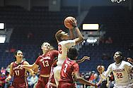 "Mississippi Lady Rebels forward Tia Faleru (32) vs. Alabama at the C.M. ""Tad"" Smith Coliseum in Oxford, Miss. on Sunday, January 11, 2015. (AP Photo/Oxford Eagle, Bruce Newman)"