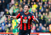 AFC Bournemouth midfielder Dan Gosling celebrates after scoring the opening goal during the Barclays Premier League match between Bournemouth and Norwich City at the Goldsands Stadium, Bournemouth, England on 16 January 2016. Photo by Graham Hunt.