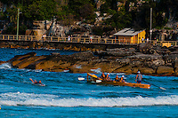 Men rowing boat, Steyne Surf Life Saving Club, Manly Beach, Sydney, New South Wales, Australia