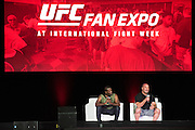 LAS VEGAS, NV - JULY 9:  Din Thomas and Matt Serra speak during the UFC Fan Expo at the Las Vegas Convention Center on July 9, 2016 in Las Vegas, Nevada. (Photo by Cooper Neill/Zuffa LLC/Zuffa LLC via Getty Images) *** Local Caption *** Din Thomas; Matt Serra