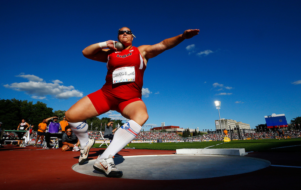 Jillian Camarena-Williams of the USA competes her way to winning the silver medal in women's shot put during the athletics at the Pan Am Games in Toronto, Wednesday July 22, 2015.    THE CANADIAN PRESS/Mark Blinch