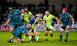AJ MacGinty of Sale Sharks takes on Ben Franks of London Irish - Mandatory by-line: Matt McNulty/JMP - 15/09/2017 - RUGBY - AJ Bell Stadium - Sale, England - Sale Sharks v London Irish - Aviva Premiership