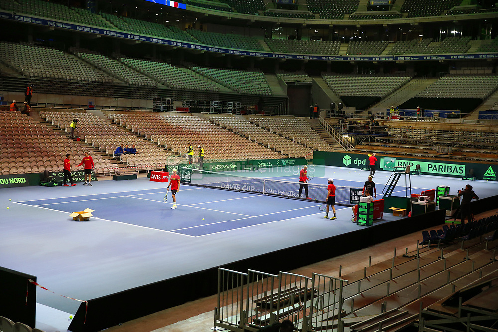 November 21, 2017 - Lille, France - LILLE, FRANCE - NOVEMBER 21 :  Illustration Pierre-Mauroy Stadium during the training session of the Belgian Davis Cup team  before the Davis Cup World Group Final match between France and Belgium on November 21, 2017 in Lille, France, 21/11/2017. (Credit Image: © Panoramic via ZUMA Press)