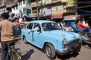 Air Force Ambassador Classic car in streets of Khari Baoli, Old Delhi, India