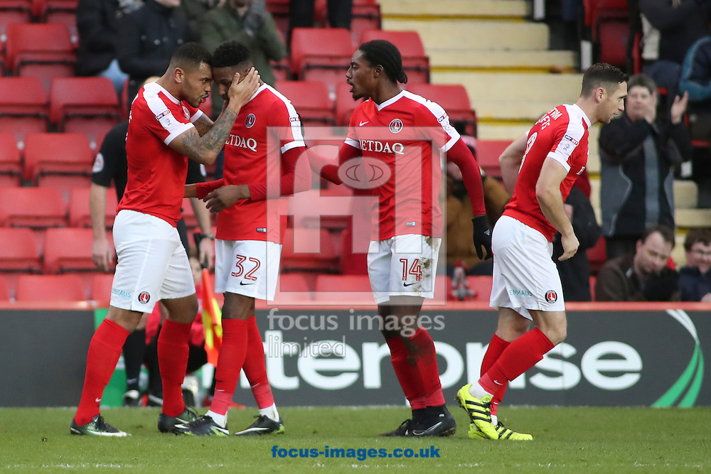 Charlton celebrate the equalising goal by Josh Magennis making the score 1-1 during the Sky Bet League 1 match at The Valley, London<br /> Picture by Toyin Oshodi/Focus Images Ltd 07984788195<br /> 02/01/2017