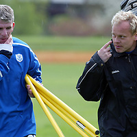 St Johnstone Caretaker Manager's Mixu Paatelainen and Jim Weir taking training this morning.<br />