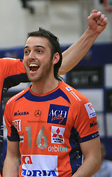 Angel Perez celebrates at last final volleyball match of 1.DOL Radenska Classic between OK ACH Volley and Salonit Anhovo, on April 21, 2009, in Arena SGS Radovljica, Slovenia. ACH Volley won the match 3:0 and became Slovenian Champion. (Photo by Vid Ponikvar / Sportida)