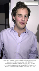 LORD BUCKHURST son of Earl De La Warr at a party in London on 18th September 2001.OSM 62