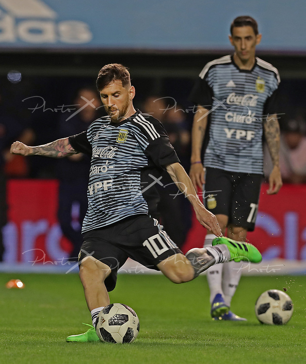 Argentina's forward Lionel Messi kicks the ball before the international friendly football match against Haiti at Boca Juniors' stadium La Bombonera in Buenos Aires, on May 29, 2018. (Alejandro PAGNI / PHOTOXPHOTO)