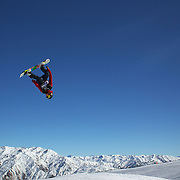Maxence Parrot, Canada, in action during the Snowboard Slopestyle Men's competition at Snow Park, New Zealand during the Winter Games. Wanaka, New Zealand, 21st August 2011. Photo Tim Clayton