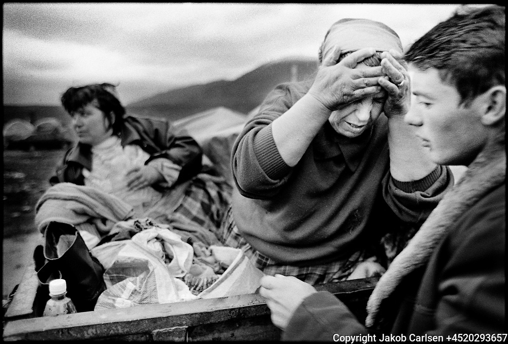 During the spring of 1999 thousands fled from the war in Kosovo to the neighboring country Albania. Morning toilette in a refugee camp in Kukes.