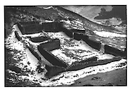 Ruins of a Tibetan Buddhist temple destroyed during the Cultural Revolutions in the 1960's by Red Guards, near Labrang Monastery, Amdo, Tibet (Xiahe, Gansu, China).