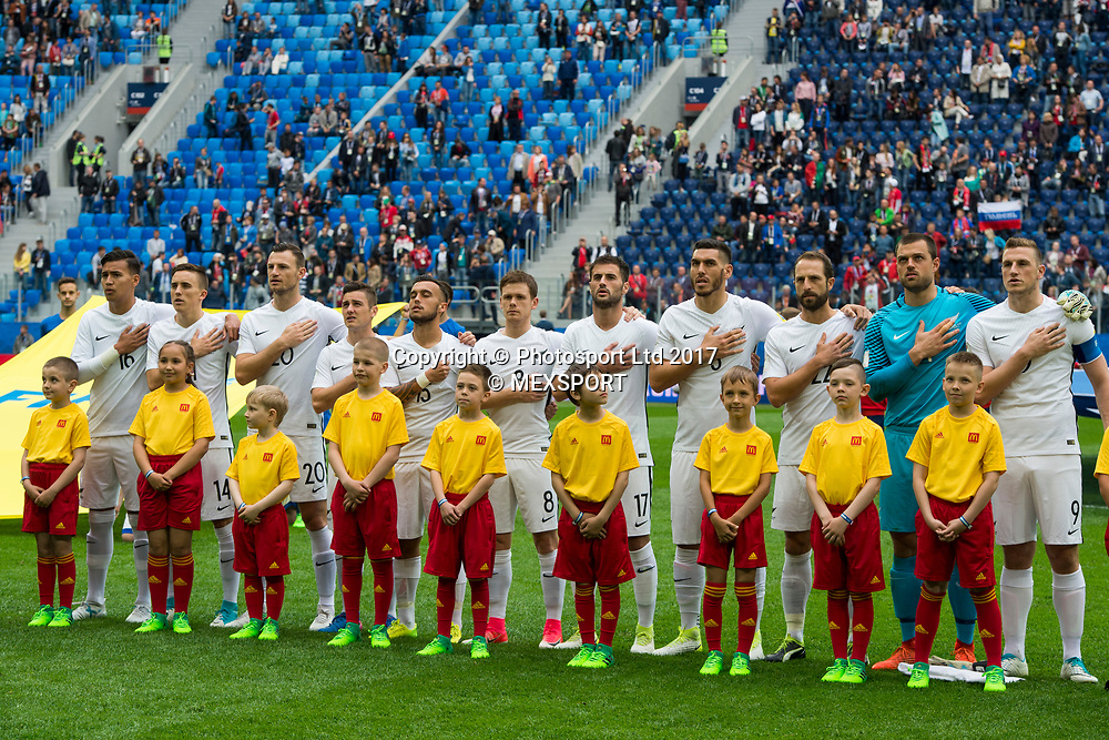 New Zealand All Whites during the national anthem played before the match New Zealand vs Portugal in Group A of the FIFA Confederations Cup Russia 2017 at the Saint Petersburg Stadium, Russia. <br /> 24 June 2017.<br /> Copyright photo: MEXSPORT / Jorge Martine / www.photosport.nz