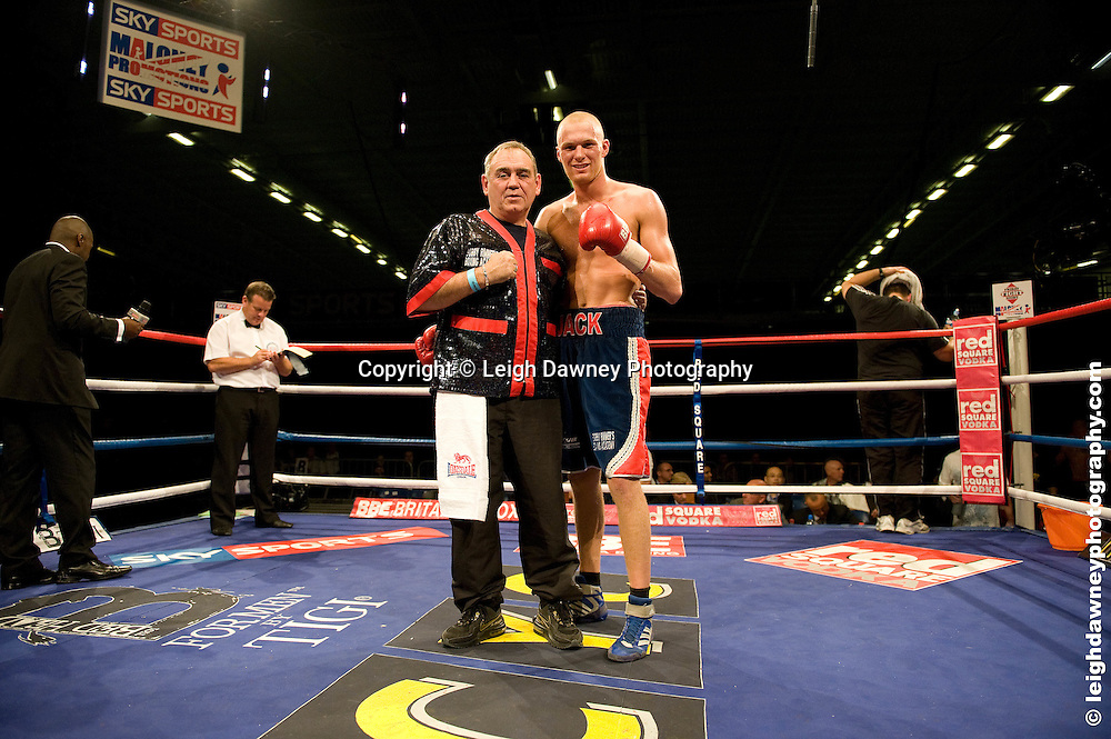 Jack Arnfield (red/blue shorts) defeats Alex Spitko at the Bolton Arena, Bolton, UK on 23rd September 2009. Frank Maloney Promotions. photo credit © Leigh Dawney
