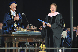 President Richard Levin Conferring of Honorary Doctor of Music Degree, Mus. D, to Sir Paul McCartney on Old Campus, Yale University, New Haven, CT at the 2008 Commencement Ceremonies.